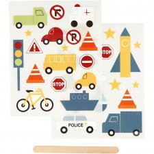 Rub-on stickers, 12,2x15,3 cm, , transport, 1förp.