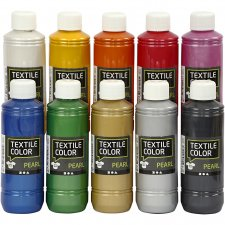 Textile Color, ass. farger, pearl, 10x250ml