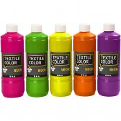 Textil Color, ass. farger, neon, 5x500ml